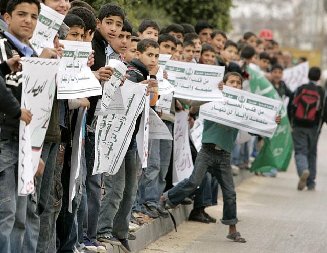 Cadena humana en Gaza para protestar contra el bloqueo de Israel