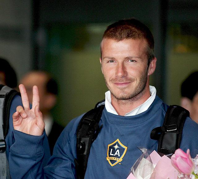 David Beckham llega a Seúl para disputar un amistoso