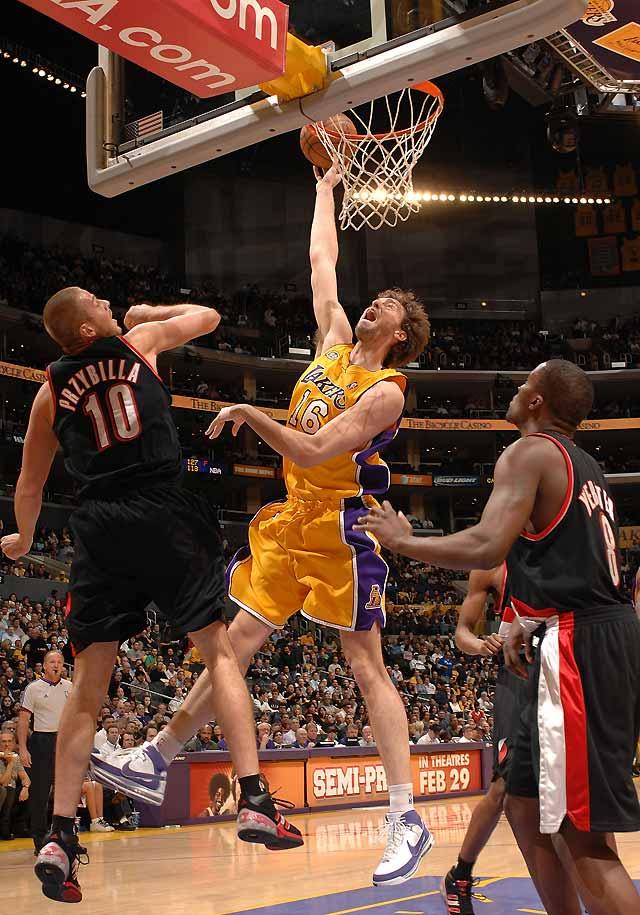 Los Lakers y Gasol no dan tregua a los Portland de Sergio Rodríguez