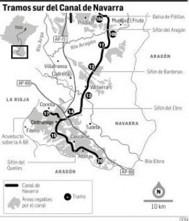 Veinte localidades de la Ribera beberán agua del Canal de Navarra en 4 años