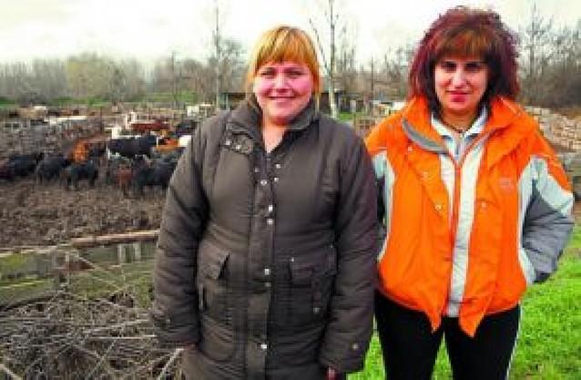 Dos mujeres dirigen una ganadería de reses bravas en San Adrián