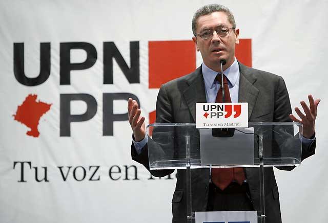 """Gallardón asegura que el Gobierno de Navarra es fruto de la voluntad """"férrea"""" de UPN"""