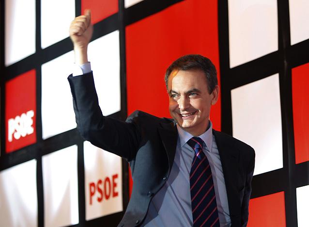 """Zapatero destaca la victoria """"clara"""" del PSOE y anuncia una """"nueva etapa sin crispación"""""""