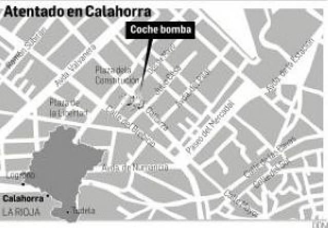 Calahorra se recupera tras el coche bomba de ETA contra la Guardia Civil