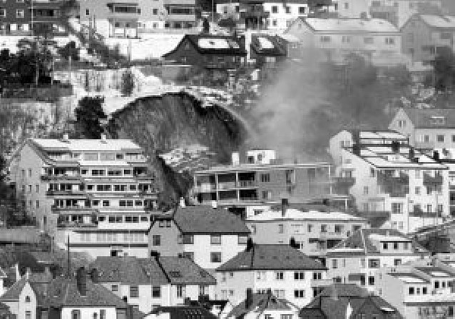 Un corrimiento derriba una casa de 6 pisos en Noruega