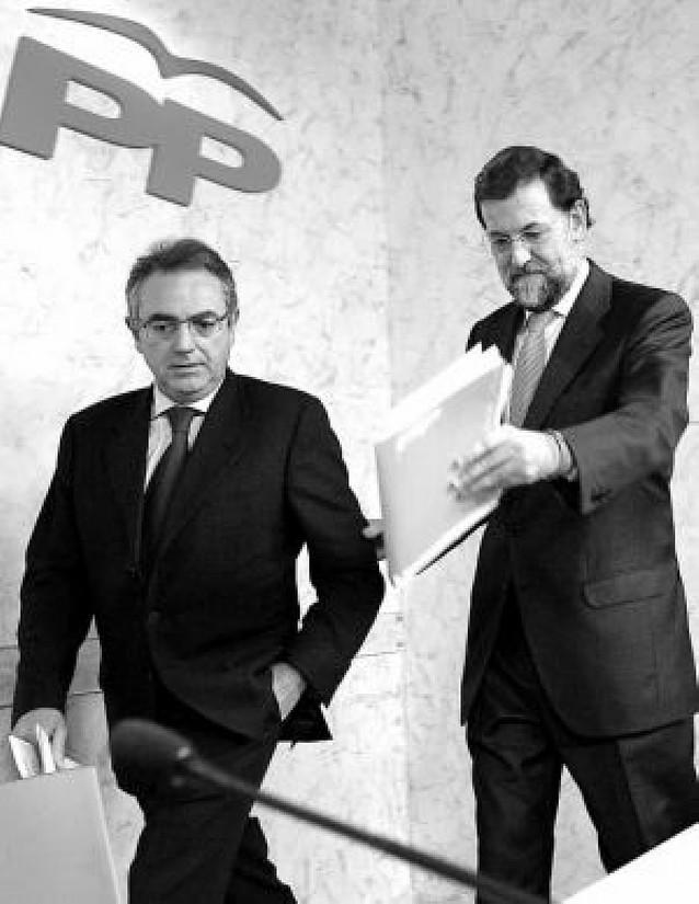 Sanz se reúne con Rajoy en Madrid y defiende la abstención del PP en la investidura de Zapatero