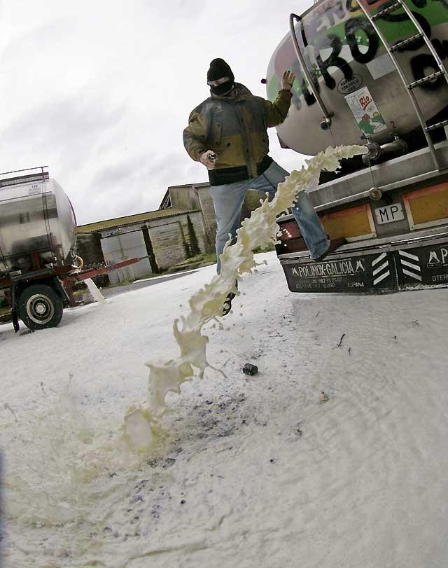 Ganaderos gallegos derraman 50.000 litros de leche en protesta por la reducción de precios