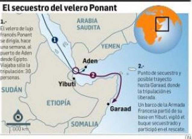 Rescatada la tripulación del yate francés asaltado, y detenidos seis de los piratas