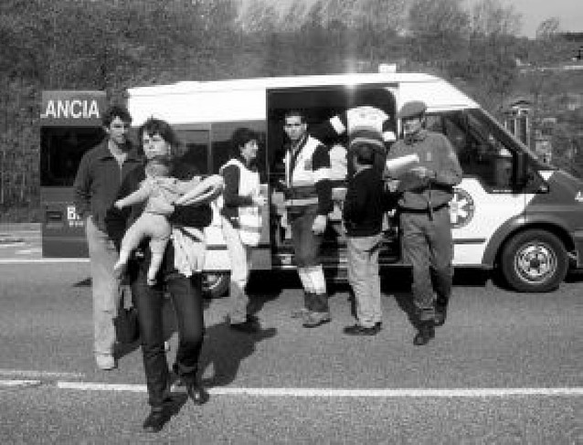Los heridos, entre Irún y Pamplona