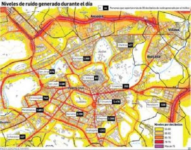 II Ensanche e Iturrama, los barrios de Pamplona que más ruido sufren