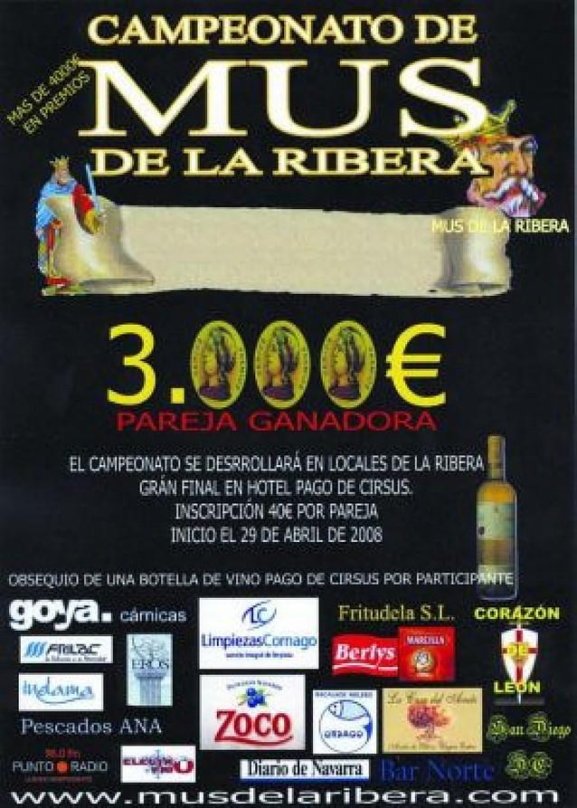 Veinte localidades acogerán el I Torneo de Mus de la Ribera, dotado con 4.000 euros