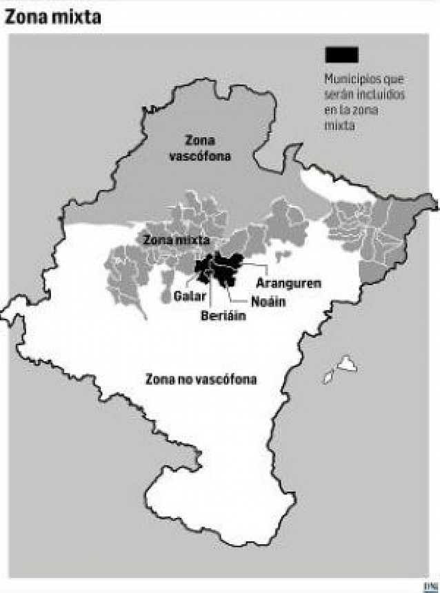 Ley del Vascuence: La zona mixta se ampliará a Noáin, Aranguren, Beriáin y Galar