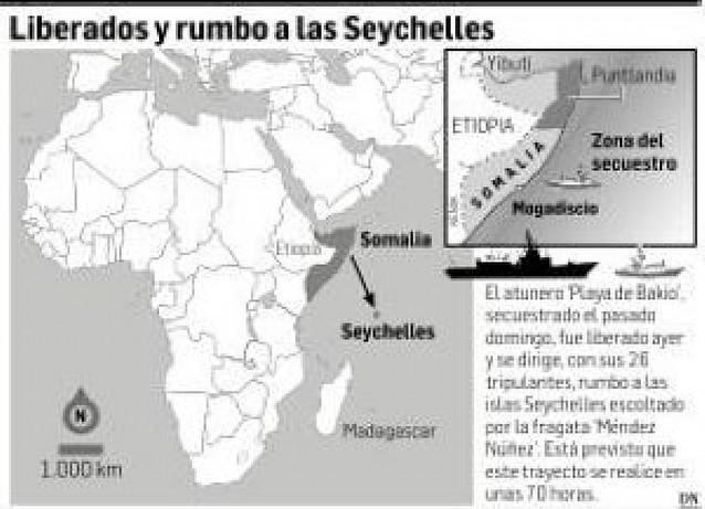 """Los 26 tripulantes del """"Playa de Bakio"""" navegan en libertad hacia las Seychelles"""