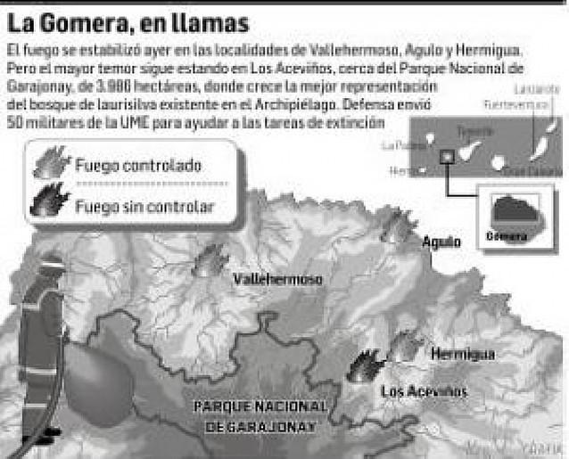 El incendio de La Gomera se acerca al Parque Nacional del Garajonay
