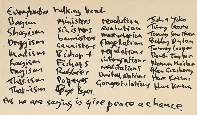 """Sale a subasta en Londres la letra de """"Dale una oportunidad a la paz"""", de Lennon"""