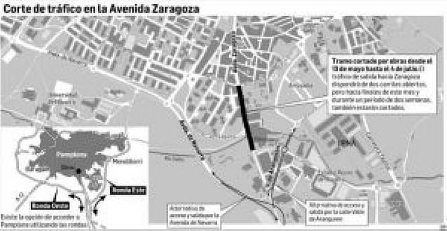 El acceso a Pamplona por el sur estará cortado del 13 de mayo al 4 de julio