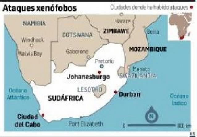 Más de 25.000 extranjeros huyen de los ataques xenófobos en toda Sudáfrica