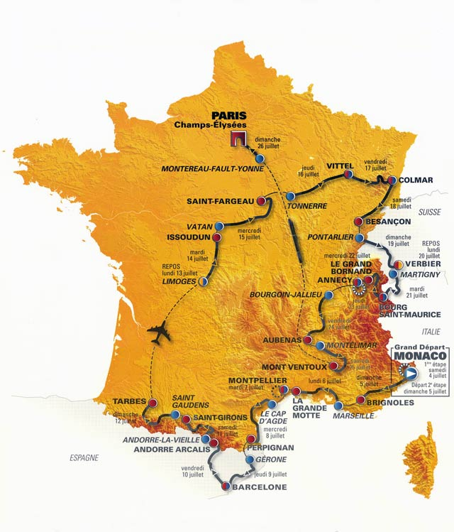 Dos jornadas en España y llegada al Mont Ventoux en penúltima etapa del Tour 2009