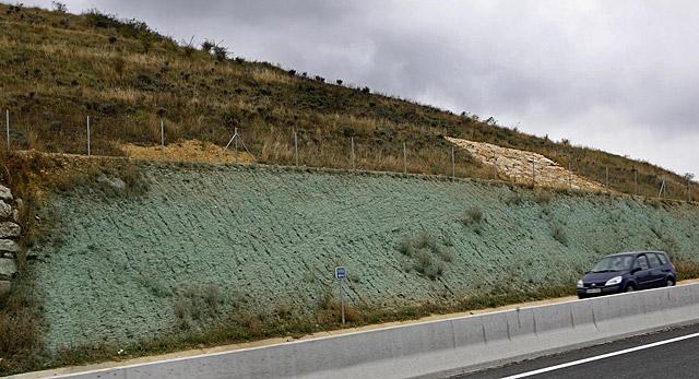 La autovía a Logroño se tiñe de verde