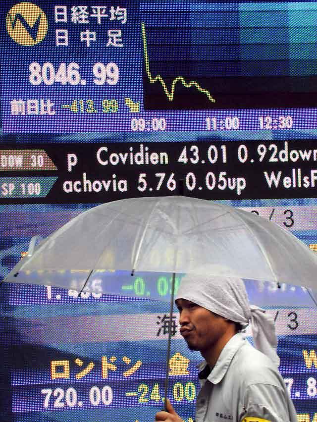 La Bolsa de Tokio retrocede a valores de mayo de 2003