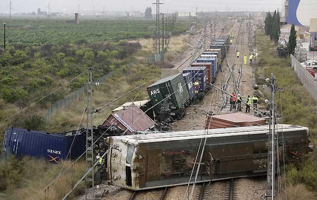 Un tren de mercancías descarrila en la localidad castellonense de Moncófar