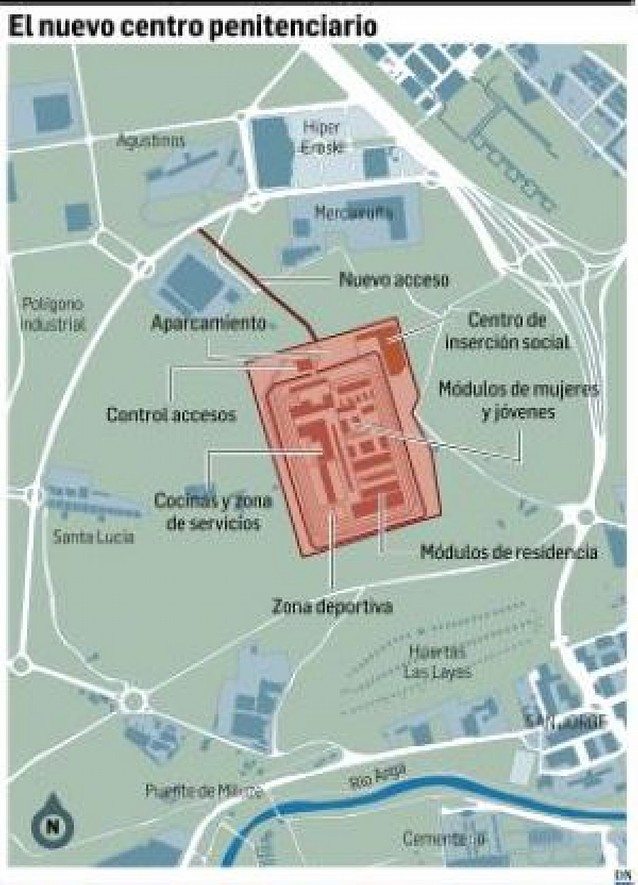 El acceso a la nueva cárcel de Pamplona será por Agustinos
