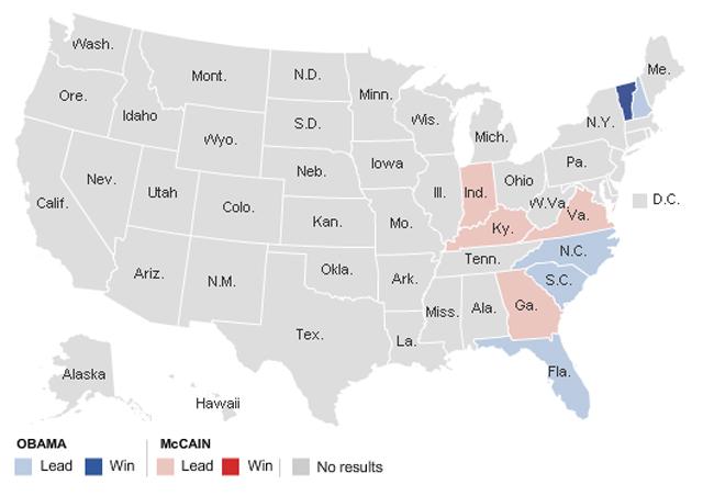 Vermont para Obama y Kentucky para McCain