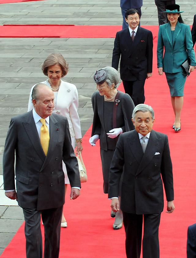 Masako, la esposa del príncipe heredero, en la bienvenida a los Reyes de España en Tokio