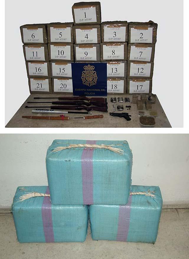 Detenidas 23 personas e incautados 2.542 kilos de hachís en dos actuaciones
