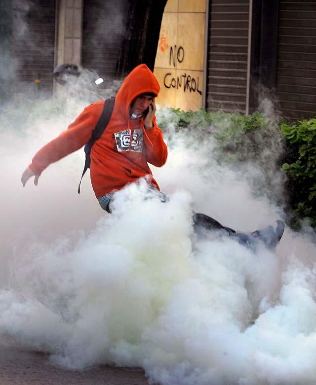 Disturbios durante una manifestación en Atenas en una nueva jornada de protestas