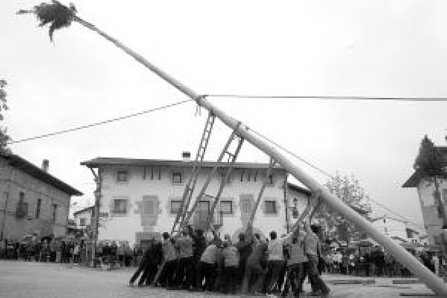 """Unos 70 vecinos de Iturmendi izaron ayer un """"Mayo"""" de 22 metros y 1.900 kilos de peso"""