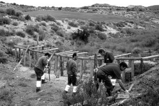 Cinco discapacitados acondicionan barrancos en Bardenas