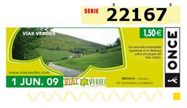 Las Vías Verdes de Navarra, imagen de los cupones de la ONCE