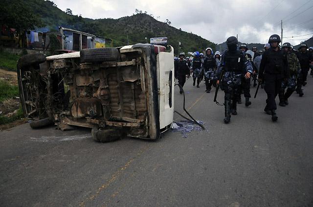 Los choques entre la policía y los seguidores de Zelaya se salda con al menos 6 heridos
