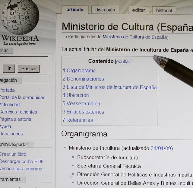 "Wikipedia convierte a Ángeles González-Sinde en ""ministra de Incultura"""