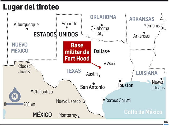 Un oficial mata a 12 soldados en Fort Hood